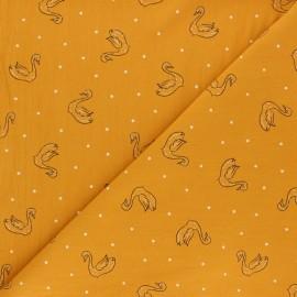 Tissu coton lavé Swan Le Cygne - Jaune moutarde x 10cm