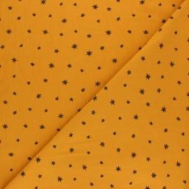 Tissu coton lavé Little Stars - Jaune moutarde x 10cm