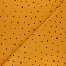 Washed cotton fabric - Mustard yellow Little Stars x 10cm