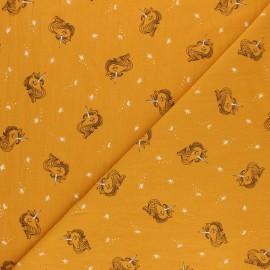 Tissu coton lavé Lili la Licorne - Jaune moutarde x 10cm