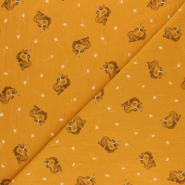Washed cotton fabric - Mustard yellow Lili la Licorne x 10cm