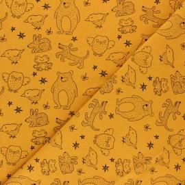 Tissu coton lavé Kid animals - Jaune moutarde x 10cm