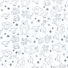 Washed cotton fabric - mustard Kid animals x 10cm