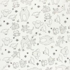 Tissu coton lavé Kid animals - Ecru x 10cm