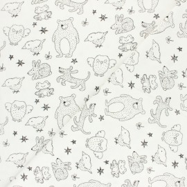 Washed cotton fabric - white Kid animals x 10cm
