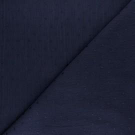 Tissu crépon de viscose plumetis - Bleu jean x 10cm