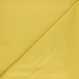 Tissu crépon de viscose plumetis - Jaune curry x 10cm