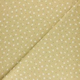Tissu jersey Feuillettes - Jaune x 10cm