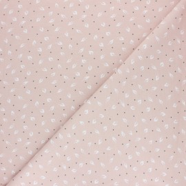 Cotton Jersey fabric - Light pink Feuillettes x 10cm
