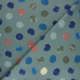♥ Coupon 15 cm X 140 cm ♥ French terry fabric - grey green Multidots