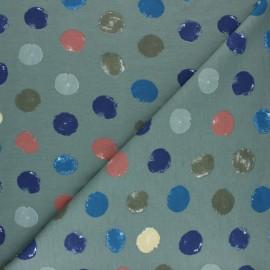 Tissu sweat léger Multidots - Vert de gris x 10cm