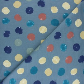 French terry fabric - grey green Multidots x 10cm