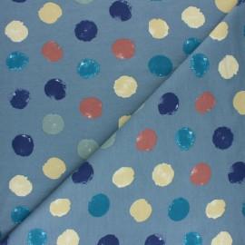 Tissu sweat léger Multidots - Gris bleu x 10cm