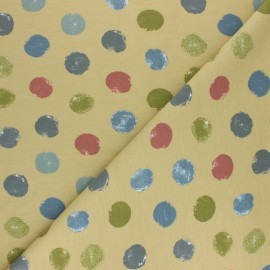 French terry fabric - Blue grey Multidots x 10cm