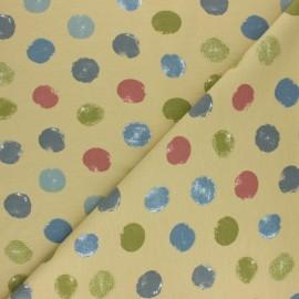Tissu sweat léger Multidots - Jaune paille x 10cm