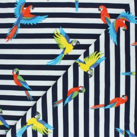 Tissu jersey Pako le perroquet - bleu marine x 10cm