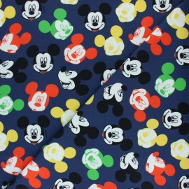 Tissu sweat léger Smiling Mickey - Bleu marine x 10cm