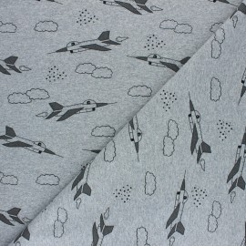 French terry fabric - mottled grey Avion de chasse x 10cm