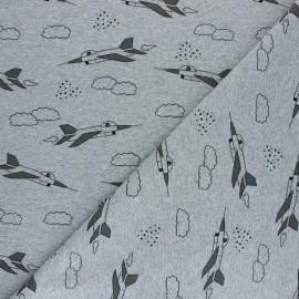 Tissu sweat léger Avion de chasse - gris chiné x 10cm