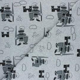 Tissu sweat léger Chevalier - gris chiné x 10cm