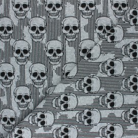 Tissu sweat léger Skulls and Stripes - gris chiné x 10cm