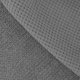 Honeycomb towel fabric - Grey x 10cm