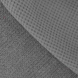 Tissu éponge nid d'abeille gris