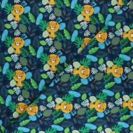 Tissu jersey Jungle Leo - Bleu marine x 10cm