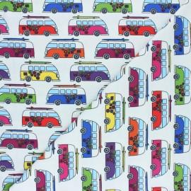 Tissu jersey Jungle Hippie Van - Blanc x 10cm