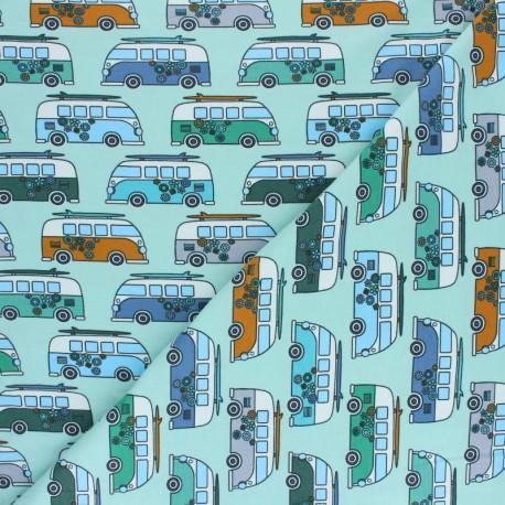 Tissu jersey Jungle Hippie Van - Menthe x 10cm