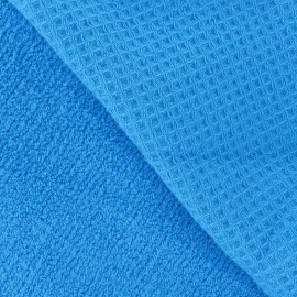 Tissu éponge nid d'abeille turquoise
