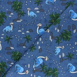 Tissu jersey Le Petit Dino - Bleu denim x 10cm