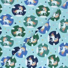 Printed Jersey fabric - mint Léna la Licorne x 10cm