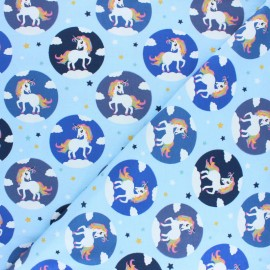 Printed Jersey fabric - sky blue Léna la Licorne x 10cm
