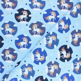 Tissu jersey Léna la Licorne - Bleu ciel x 10cm