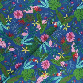 Tissu jersey Tropicali - Bleu roi x 10cm