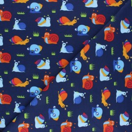Printed Jersey fabric - navy blue Margot et ses amis x 10cm