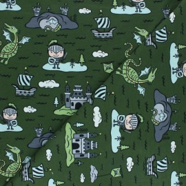 Printed Jersey fabric - green Margot et ses amis x 10cm