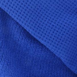 Tissu éponge nid d'abeille bleu Roy
