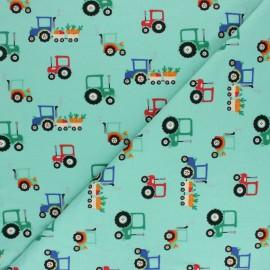 Printed Jersey fabric - aqua Jour de récolte x 10cm