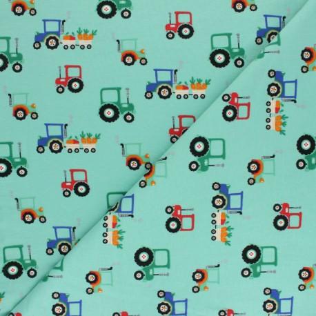 Tissu jersey Jour de récolte - Aqua x 10cm