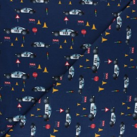 Printed Jersey fabric - navy blue Patrouille de Police x 10cm