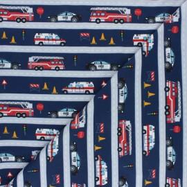 Printed Jersey fabric - navy blue Sauvetage x 10cm