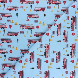 Printed Jersey fabric - light blue Fire alert x 10cm