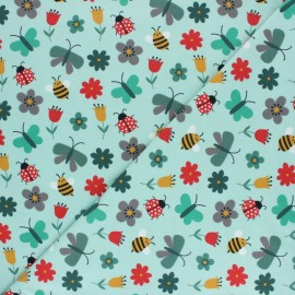 Printed Jersey fabric - light green Abeilles et Papillons x 10cm