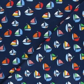 Tissu jersey Voiliers - Bleu marine x 10cm