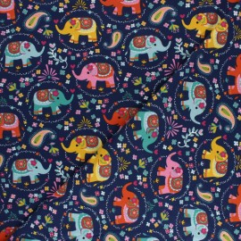 Printed Jersey fabric - navy blue Indian elephant x 10cm
