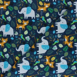 French terry fabric - navy blue Jungle friend x 10cm