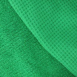 Honeycomb towel fabric - Grass green x 10cm