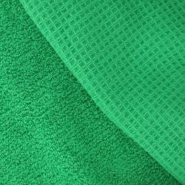 Tissu éponge nid d'abeille vert